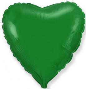 Стандартный шар-сердце, Фольгированный, Зеленый