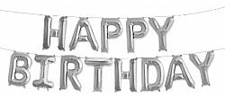 """Гирлянда из букв """"Happy Birthday"""", серебро"""