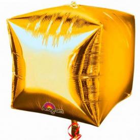 "Шар 3D КУБ 15"" Золото"