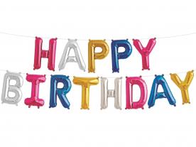 """Надпись из букв """"Happy Birthday"""", мульти"""
