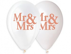 "Шар латекс 14""/36 см ""Mr & Mrs"", бел.+прозр."