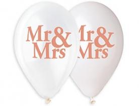 "Шар латекс ""Mr & Mrs"", бел.+прозр., 36 см"