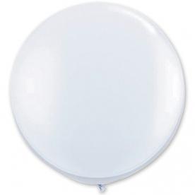 Большой шар на атласной ленте, Белый, 90 см