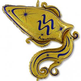 Шар Зодиак Водолей золотой