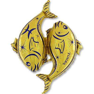 Шар Зодиак Рыбы синий/золотой