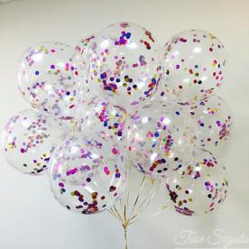 """Прозрачный шар 14""""/36 см,с конфетти ассорти круги фольга"""