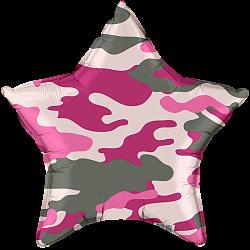 """Шар - Звезда 18""""/46 см, розовый камуфляж"""