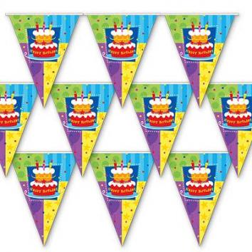 Гирлянда вымпел Торт Birthday 360см