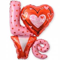 "Шар фигура надпись ""LOVE"" с сердечками"""