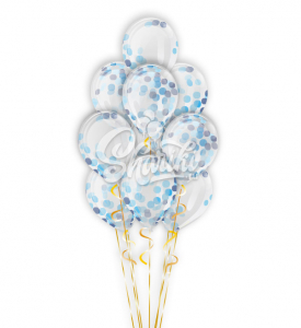 """Фонтан из шаров с конфетти """"Оттенки голубого"""""""