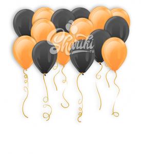 """Шары под потолок """"Оранжевый и черный"""",14""""/36 см"""