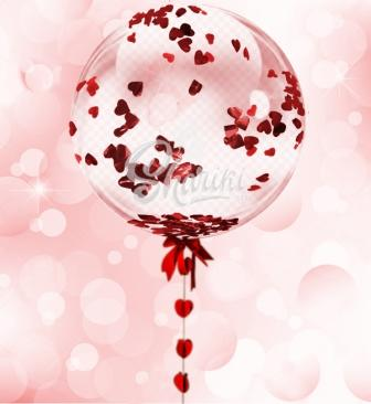 "Шар Bubble ""Конфетти сердечки"""