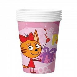 "Стаканы ""Три кота"", 6шт розовые"