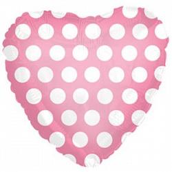 """Сердце фольга """" Розовый в горошек"""",46 см"""