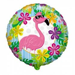 "Шар фольга ""Фламинго в цветах"""