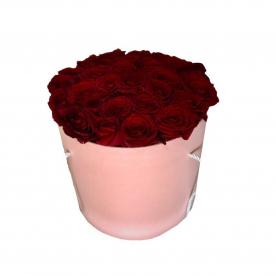 Розы в шляпной коробки 33 шт.