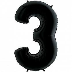 """Шар """"Цифра 3"""" Черный"""