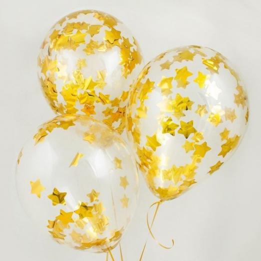 Прозрачный шар с конфетти золотые звезды, 36 см