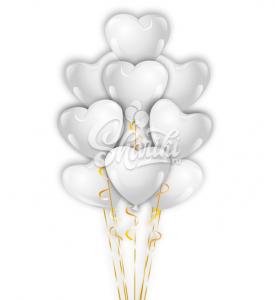 """Фонтан из шаров """"Сердца Белые"""""""