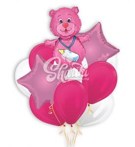 """Букет шаров """"Мишка"""" для девочки"""