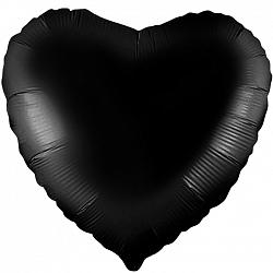 Шар сердце фольга Черный