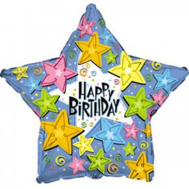 """Шар Звезда фольга """"Happy Birthday"""" со звездами"""