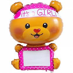 """Шар - Фигура, для надписей Мишка-девочка"""" с маркером."""