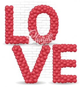 """Буквы из шаров """"LOVE"""". На каркасе."""
