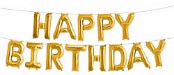 """Надпись из букв """"Happy Birthday"""", золото"""