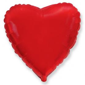 Стандартный шар-сердце, Фольгированный, Красный