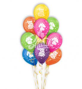 """Фонтан из шаров """"С днём рождения"""""""