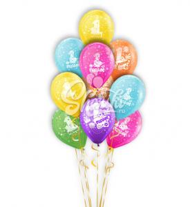"""Фонтан из шаров """"С днём рождения, 1 годик"""""""