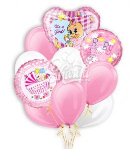"""Букет шаров """"Встречая пополнение"""" для новорожденной"""