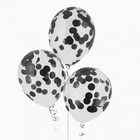 """Прозрачный шар 14""""/36 см,с конфетти черные бум.круги"""