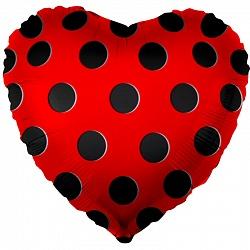 """Шар сердце 18""""/46 см """"Красное черный в горошек"""""""