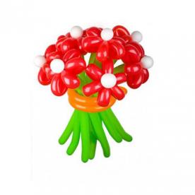 """Цветы из шаров """"Ромашки красные"""""""