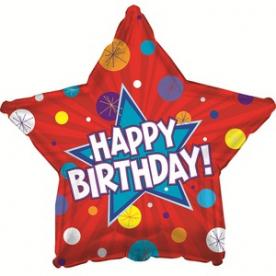 """Шар Звезда фольга """"Happy Birthday"""",46 см"""