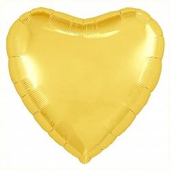 """Шар фольга сердце """"Желтый"""", 46 см"""