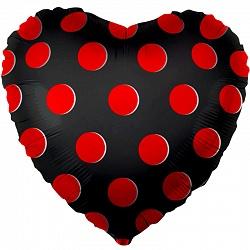 """Сердце шар 18""""/46 см """"Черное в красный горошек"""""""