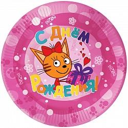 "Тарелки ""Три кота""- 6 шт розовые"