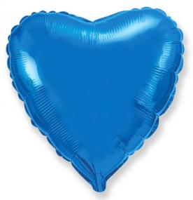 Стандартный шар-сердце, Фольгированный, Синий