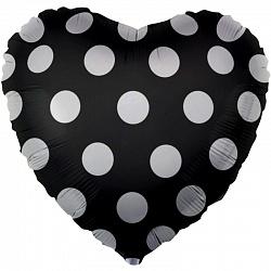 """Сердце шар 18""""/46 см """"Черное в белый горошек"""""""