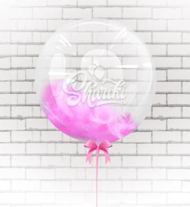 """Шар BUBBLE с перьями """"Розовый"""""""