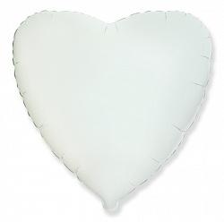 Шар Сердце фольга белый 46 см
