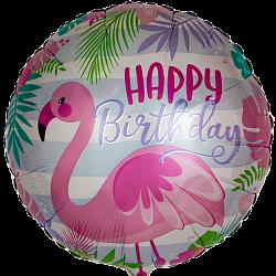 """Шар фольга """"Фламинго с днем рождения"""""""