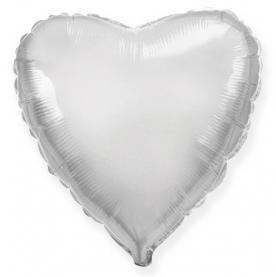 Стандартный шар-сердце, Фольгированный, Серебряный