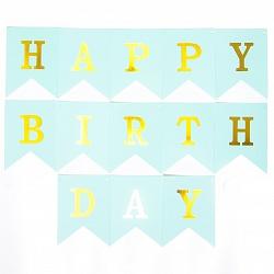 """Гирлянда флажки """"Happy Birthday"""", голубая 210 см"""
