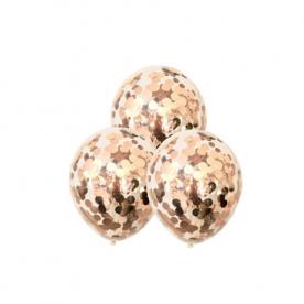 """Прозрачный шар 14""""/36 см,с конфетти розовое золото круги фольга"""