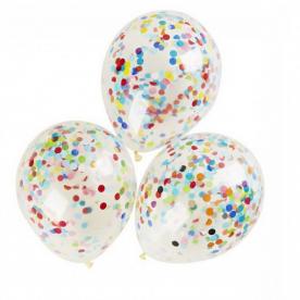 """Прозрачный шар 14""""/36 см,с конфетти ассорти бум.круги"""