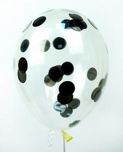 """Прозрачный шар 14""""/36 см,с конфетти серебро круги фольга"""